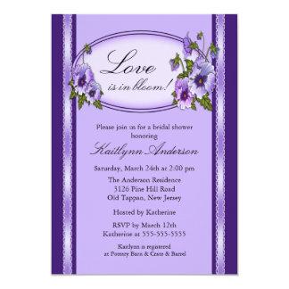 Pansy Floral Frame Bridal Shower Invitation