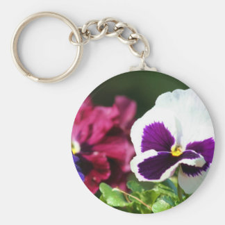 Pansy Flower Basic Round Button Keychain