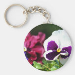 Pansy Flower Keychains