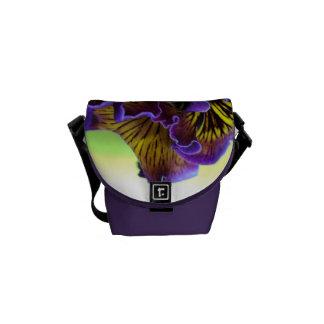 Pansy Flower Mini Messenger Bag Outside Print