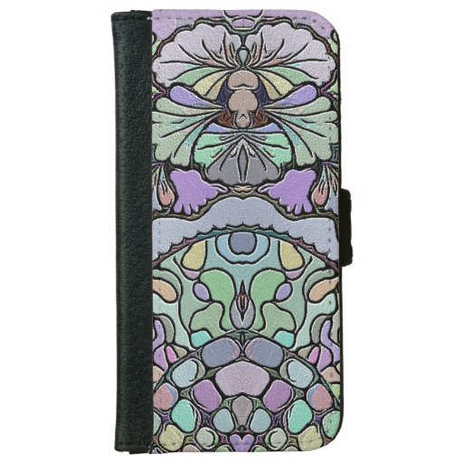 Pansy flower mosaic iPhone 6/6s wallet case