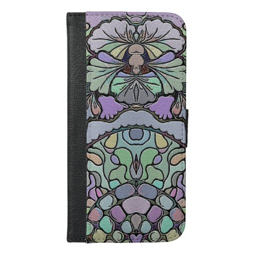 Pansy flower mosaic iPhone 6/6s plus wallet case