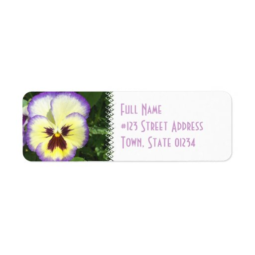 Pansy Flower Picture Mailing Label