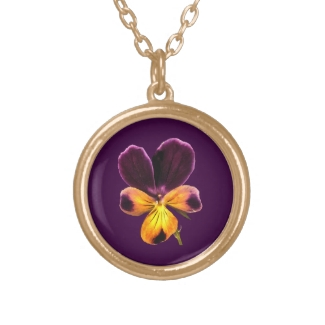 Pansy Flower Purple Yellow Floral Necklace
