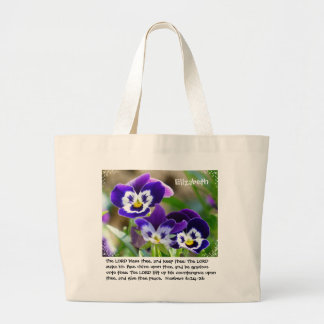Pansy Flower & Scripture Tote Bag