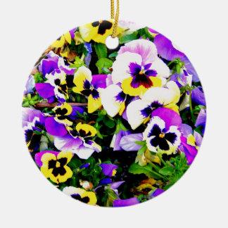 pansy flowers ceramic ornament