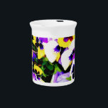 """pansy flowers drink pitcher<br><div class=""""desc"""">multi-color pansies in bloom</div>"""