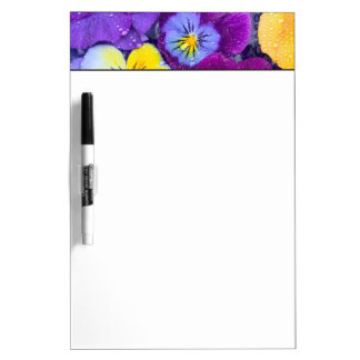 Pansy flowers floating in bird bath with dew 2 Dry-Erase board