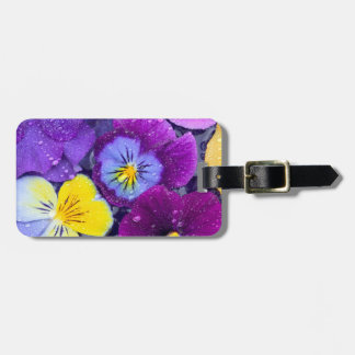 Pansy flowers floating in bird bath with dew 2 luggage tag