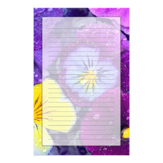 Pansy flowers floating in bird bath with dew 2 stationery