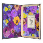 Pansy flowers floating in bird bath with dew case for iPad air