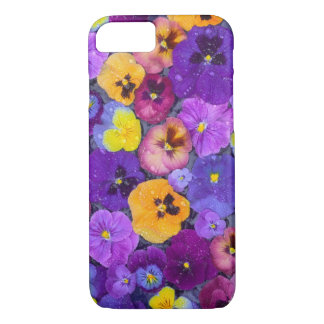 Pansy flowers floating in bird bath with dew iPhone 8/7 case