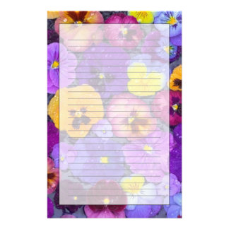 Pansy flowers floating in bird bath with dew stationery