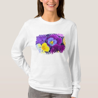 Pansy flowers floating in bird bath with dew T-Shirt