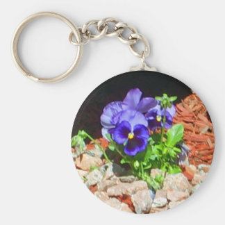 Pansy Flowers in Purple Basic Round Button Keychain