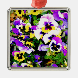 pansy flowers metal ornament
