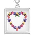 Pansy Heart Necklaces