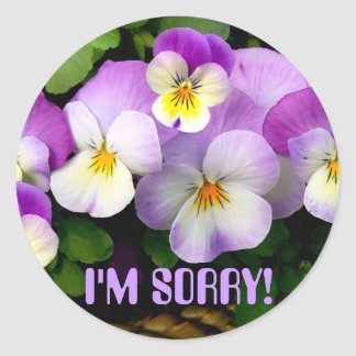 "PANSY  ""I'm Sorry!"" ~ Envelope Sealers Classic Round Sticker"