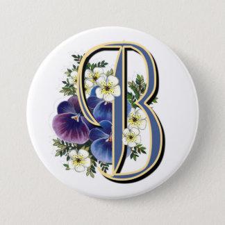 Pansy Initial  - B Pinback Button