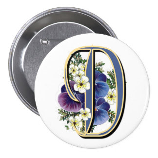 Pansy Initial  - D Pinback Button