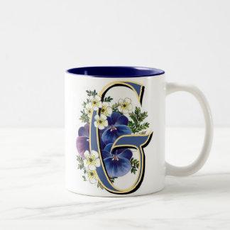 Pansy Initial - G Two-Tone Coffee Mug