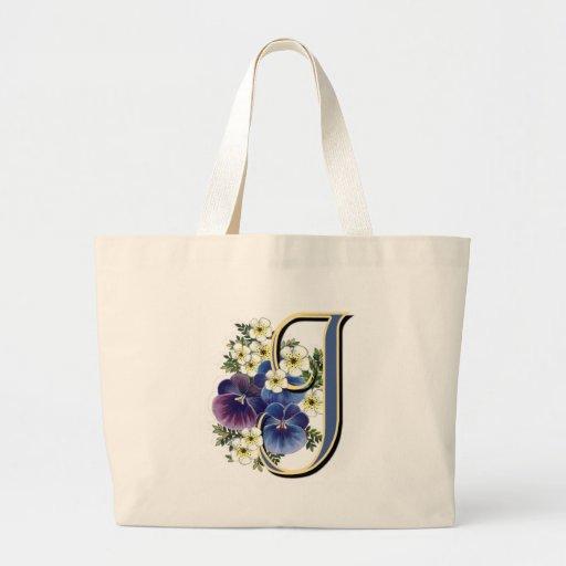 Pansy Initial - J Tote Bag