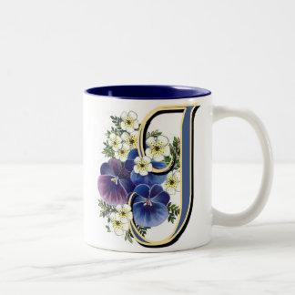 Pansy Initial - J Two-Tone Coffee Mug
