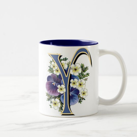 Pansy Initial - Y Two-Tone Coffee Mug