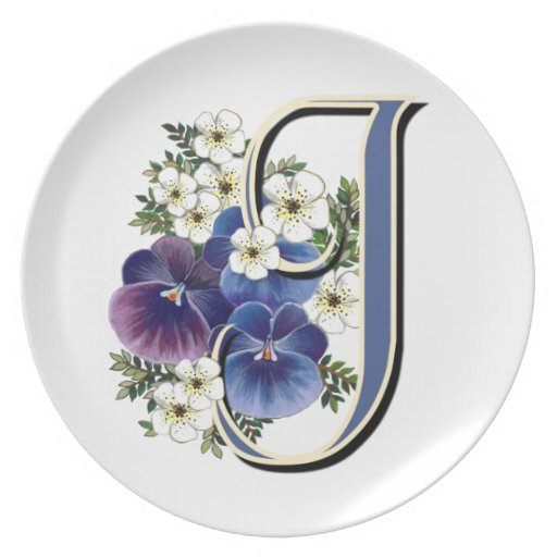 "Pansy Initials on a Dinner Plate - ""J"""