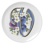 "Pansy Initials on a Dinner Plate - ""V"""