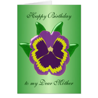 Pansy Mother Birthday Greeting Card