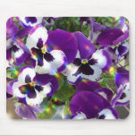 "Pansy Mouse Pad<br><div class=""desc"">Blooming purple pansies blossom flowers.</div>"