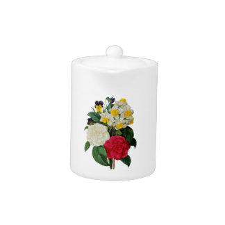 Pansy, Narcissus and Camellia Bouquet By Redoute Teapot