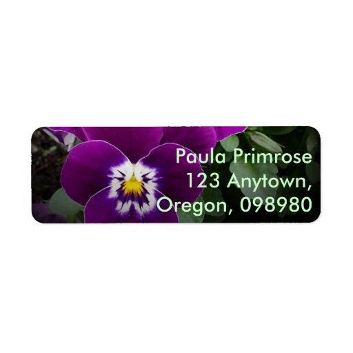 Pansy Nuptials Return Address Labels