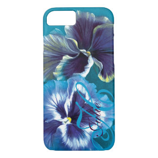 Pansy painting floral aqua name iPhone case