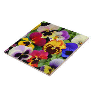Pansy Patchwork ~ Ceramic Tile