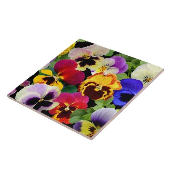 Pansy Patchwork ~ Ceramic Tile