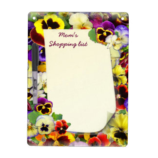Pansy Patchwork ~ Dry Erase Board With Hooks