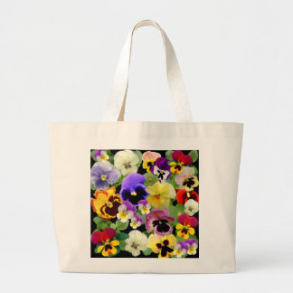 PANSY PATCHWORK ~ Jumbo Tote Canvas Bags