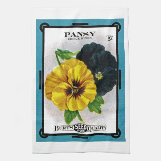 Pansy Seed Packet Label Kitchen Towels