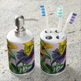 Pansy Soap Dispenser & Toothbrush Holder