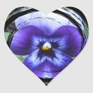 Pansy Swirl Heart Sticker