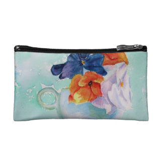 PANSY TEACUP MONOGRAMED COSMETIC/CLUTCH BAG