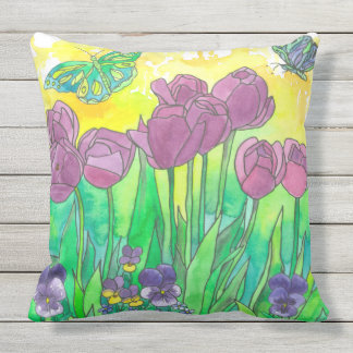 Pansy Tulip Purple Watercolor Flower Garden Throw Pillow