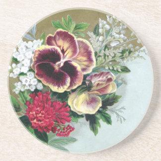Pansy Tussie-Mussie Drink Coasters