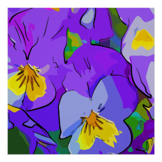 Pansy violet and yellow poster