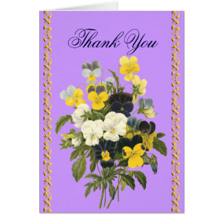 Pansy Violets Botanical Thank You Cards Greeting Card