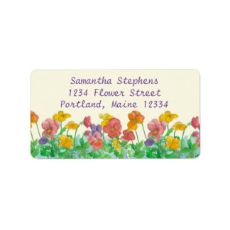 Pansy Watercolor Flowers Rainbow Colors Label