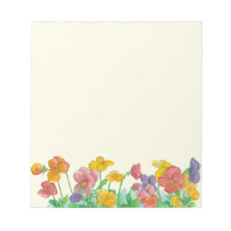 Pansy Watercolor Flowers Rainbow Colors Notepad