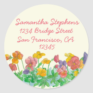 Pansy Watercolor Flowers Return Address Classic Round Sticker